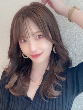 シースルー前髪/韓国くびれミディアム/ラベンダーカラー/モテ髪