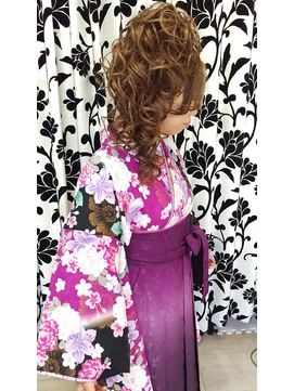 袴着付けサイド盛 卒業式 成人式 和装 盛り髪 水戸 大工町