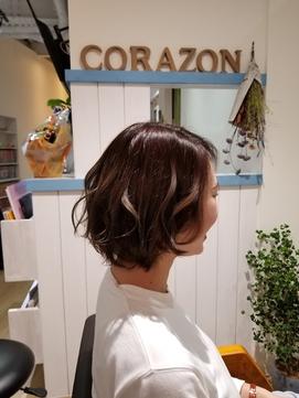 【モードヘア3Dカラージグザグバングミニマムボブボルドー】08
