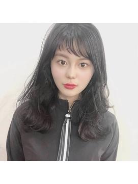 Theo /シースルーアシメ/ 巻き髪風パーマ/セミロング