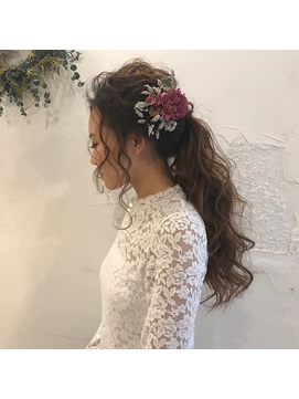 【sae】結婚式 前撮りhair ラフポニーテール