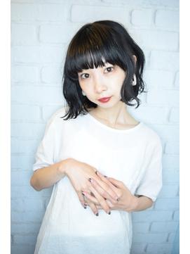 【morio鶴瀬】大人かわいい黒髪パーマ切りっぱなしボブ