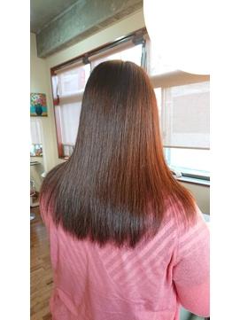 40代女性(白髪アリ)艶髪オレンジレッド