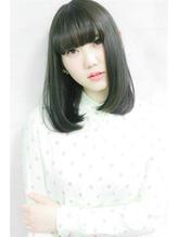 サラツヤボブディ☆ディープグリーンカラー☆前髪あり☆ ワンレングス.46