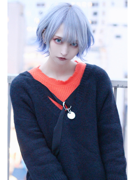 ☆CAPSULE☆ホワイトブルー・インナーカラーウルフマッシュ