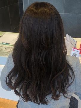 〈ラピッシュ南三番町〉オーガニックカラー厚めバング黒髪パーマ