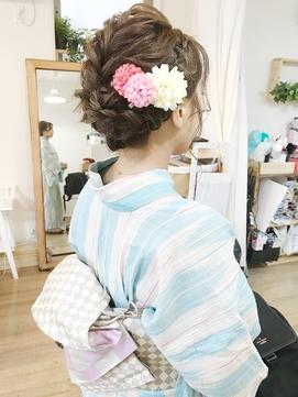 シニヨン浴衣編み込みヘアアレンジ【立川/立川南/八王子】