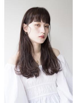 ラウンド前髪ニュアンスストレート