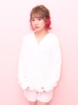 ☆Wonder Land☆ハーフアップショート☆壁紙ピンク