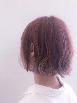 外ハネ切りっぱなしボブ☆ミニボブ☆派手髪ピンクパープル