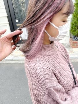 【堀惠】インナーカラー ベージュ イヤリングカラー ピンク
