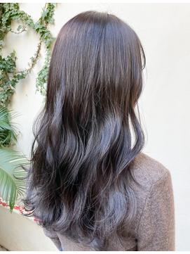 イメチェン/ネイビージュ/前髪うる艶ラベンダーイヤリングカラー