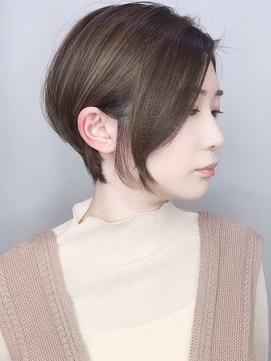 【morio 原宿】ショートボブ前髪なしハイライトベージュ
