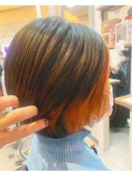 ショート ショートボブ 髪質改善 インナーカラー オレンジ