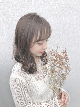 マロングレージュ/透明感カラー/波巻き/モテ髪/ゆるふわカール