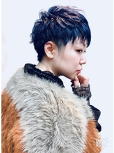 人気個性派ショート★アシメ★ツーブロック★ブリーチ★ブルー.0