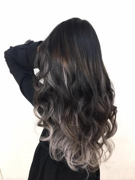 黒髪×グレージュ#シールエクステ#グラデーションカラー#天神