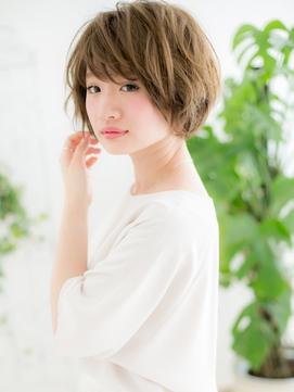 【浅草美容院HANARE】ヘーゼルベージュ×マッシュボブショートe