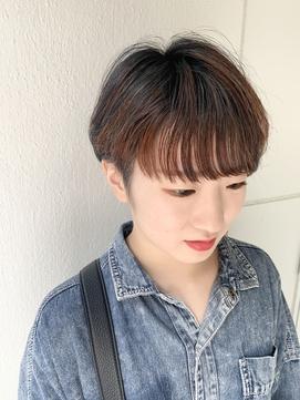 アンブレラカラー☆アシメショート×ダークネイビー×オレンジ