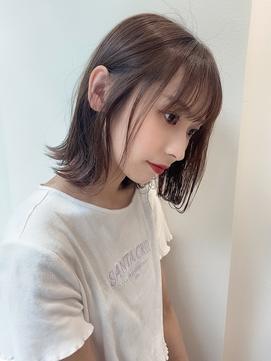 ナチュラルボブ/シースルー/前髪カタログ/イヤリングカラー