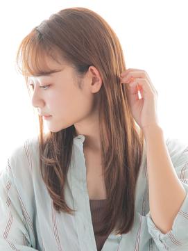 """【低温縮毛矯正】× ピンクベージュの""""ツヤ髪""""ロングヘアー"""