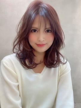 《Agu hair》最旬ピンクカラー×大人ミディアムカール