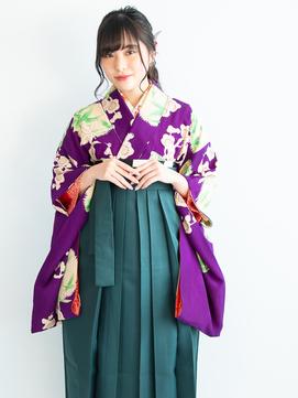 卒業式の袴スタイルと編み込みハースアップポニーヘアアレンジ♪