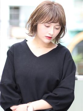 25歳からの【モード/3Dカラー /ミニマムボブ/ジグザグバング】