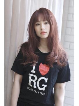 大人の短め前髪×ピンクアッシュブラウンの透明感カラー