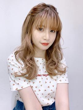前髪ピンアレンジ_カーキグレージュフェザーバング_28641