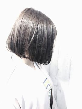 再現性高い☆ノンパーマ内巻きミニマムボブ×ダークグレージュ☆