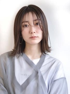 大人ナチュラルな韓国風前髪のミディアムスタイル♪