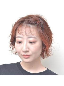 【Dulce】ボブ×オレンジカラー×前髪アレンジ