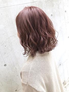 ピンクアッシュベージュくびれセミディハイライトカラー!