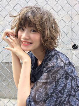 大人かわいいショートボブ【髪質改善カラー】カーキグレージュ