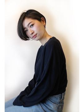 【morio池袋】黒髪かっこいいショートボブ