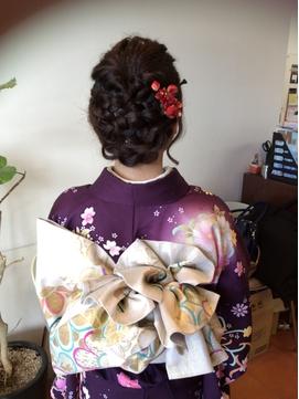 和服に似合う編み込みヘアセット☆