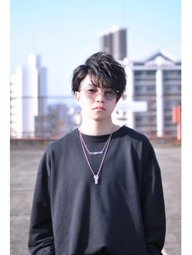 アシメ風耳掛け黒髪束感マッシュショート【BLAZE 大庭】
