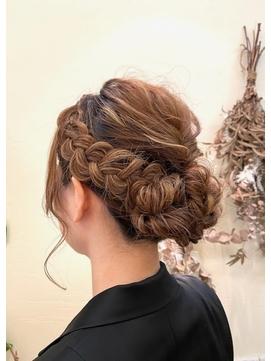 シンプル編み込みヘアセット 着物