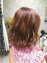 髪質改善 ピンクベージュ ミディアムボブ ミックスパーマ.14