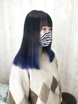 裾カラー グラデーションカラー ネイビー
