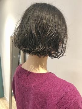 【三ツ井】簡単スタイリング くせ毛風ボブパーマ 20代30代大人気
