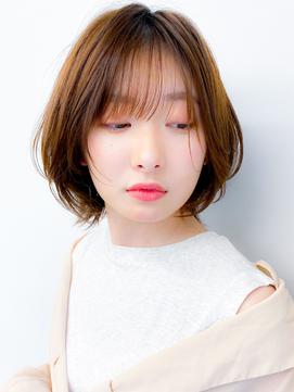 ショートパーマ/ボブルフ/小顔/黒髪ベージュ