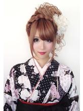 【華やか晴れ着姿】編み込みお花カールアップスタイル♪ カチューシャ.49