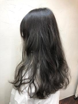 暗髪透け感カラー