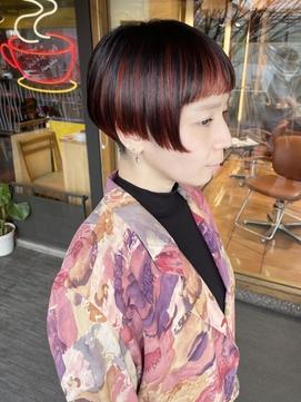 【morio 原宿】インナーカラー/ミニボブ前髪/20代/髪型