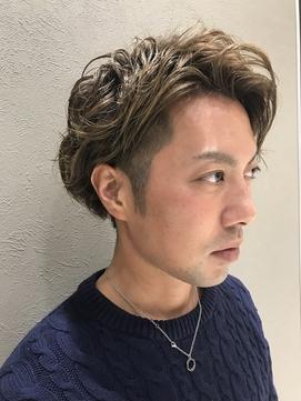 センター分けメンズマッシュショート☆リアルパーマ