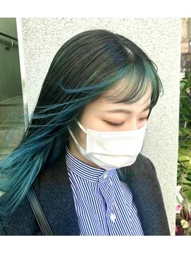 前髪インナーカラー☆グリーン☆ [町田/町田駅/インナーカラー]