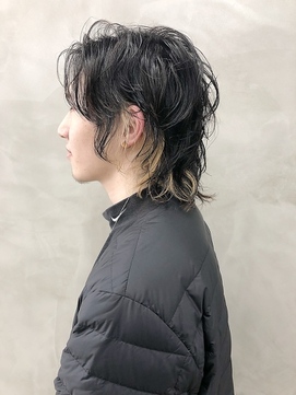 *【ACA】メンズインナーカラーミディアムウルフ