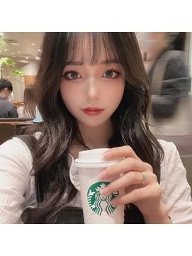 かわいい暗めカラー韓国ヘアー